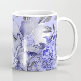 Periwinkle and Gray Floral Coffee Mug