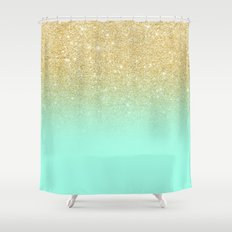 Modern gold ombre mint green block Shower Curtain