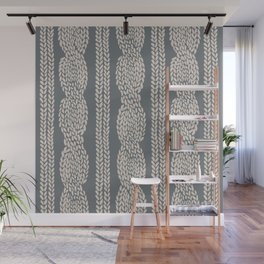 Cable Knit Grey Wall Mural