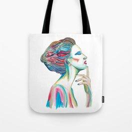 Colorful ink drawing of a women, ink art, girl illustration, modern women art Tote Bag