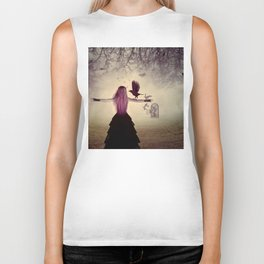Dark foggy scene with witch woman with crows Biker Tank