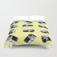 cameras Duvet Covers featuring little cameras by Alice Dol