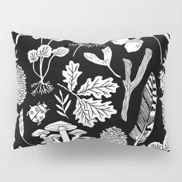Linocut minimal botanical boho feathers nature inspired scandi black and white art Pillow Sham