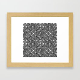 Square Black & White Seamless Geometric Pattern Framed Art Print