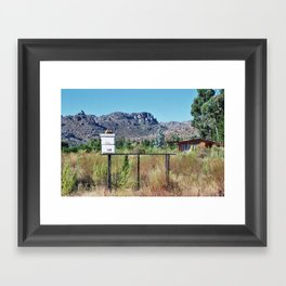 Bees on a Citrus Farm near Mountain Range Framed Art Print