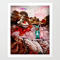 Reindeer Twins: Strawberry Surprise (Candy Christmas Series) Art Print