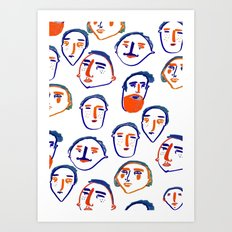 head, faces, face print, face art, people illustration, Art Print