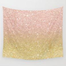Modern rose gold glitter ombre gold glitter Wall Tapestry