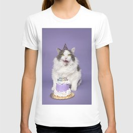Happy Birthday Fat Cat In Party Hat With Cake T-shirt