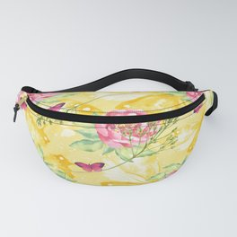Yellow Butterflies Pink Peony Fanny Pack