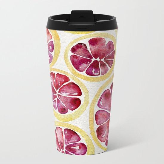 Sliced Grapefruits Watercolor Metal Travel Mug