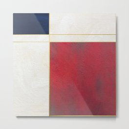 Blue, Red And White With Golden Lines Abstract Painting Metal Print