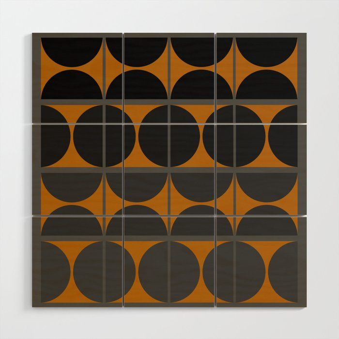 Black and Gray Gradient with Gold Squares and Half Circles Digital Illustration - Artwork Wood Wall Art