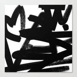 Thinking Out Loud - Black and white abstract painting, raw brush strokes Canvas Print