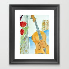 Violin and Roses Framed Art Print
