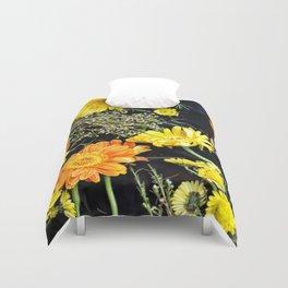 Fresh blooms on black Duvet Cover