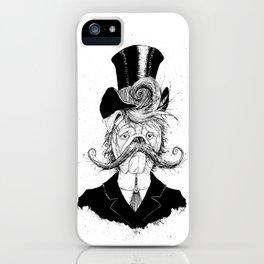 Fine Victorian Bulldog (B&W) iPhone Case