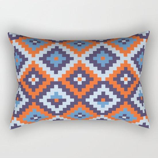 Aztec pattern - orange, blue Rectangular Pillow