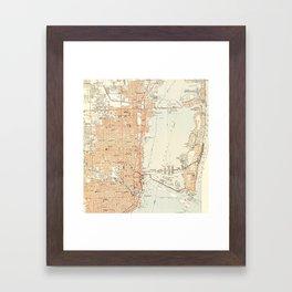 Vintage Map of Miami Florida (1950) Framed Art Print