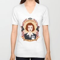 dana scully V-neck T-shirts featuring Dana Scully by heymonster