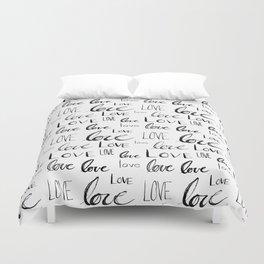 Painted Love on White Duvet Cover