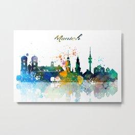 Munich Germany Skyline Watercolor Metal Print