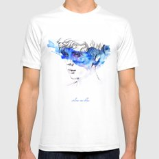 COLOUR ME BLUE   TROYE SIVAN ARTWORK Mens Fitted Tee White SMALL