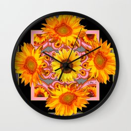 Grey-Black Geometric Sunflower Pink Art Wall Clock