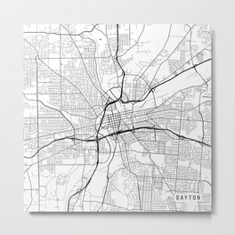 Dayton Map, USA - Black and White Metal Print
