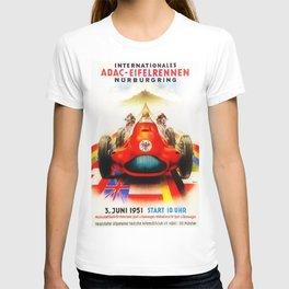 1951 Internationales ADAC Eifelrennen Grand Prix Motor Racing Nurburgring Vintage Poster T-shirt