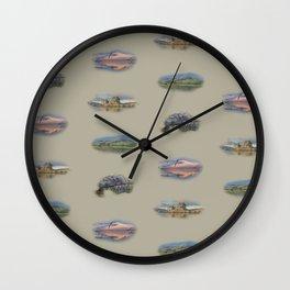 Highland landmarks in beige Wall Clock