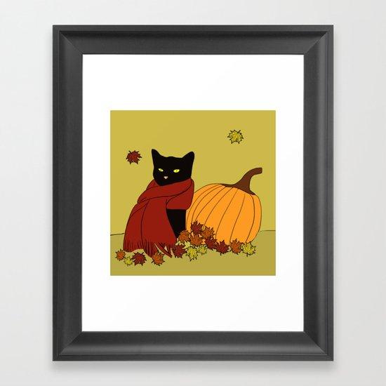 Cascade The Black Cat Welcomes Fall Framed Art Print