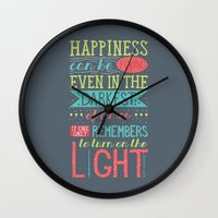 happiness Wall Clocks featuring Happiness by Dorothy Leigh