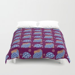 blue birds pattern on gold and purple Duvet Cover
