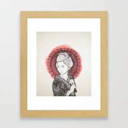Japanese flag and Geisha Framed Art Print