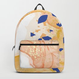 Patel Pink Orange Gradient Alcohol Ink Pouring with Gold and Blue Terrazzo Backpack