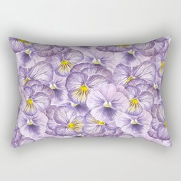 Watercolor floral pattern with violet pansies Rectangular Pillow