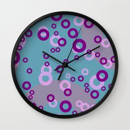 rings pink purple - turquoise Wall Clock