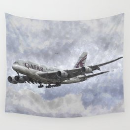 Qatar Airlines Airbus Art Wall Tapestry