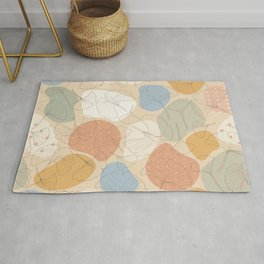 Autumn Is Here - cute ginkgo leaf veins on color patches and polka dots pattern Rug