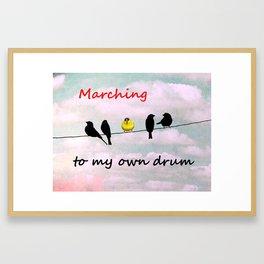 Pink Teal Black Bird Wire Goldfinch Inspirational Art Matted Picture USA A502 Framed Art Print
