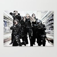 hot fuzz Canvas Prints featuring hot fuzz by American Artist