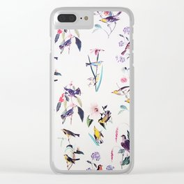 Vintage chic pink teal purple floral birds pattern Clear iPhone Case