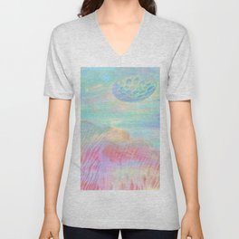 HOPSCOTCH SHRINE, a spaceship flying through a pastel art piece Unisex V-Neck