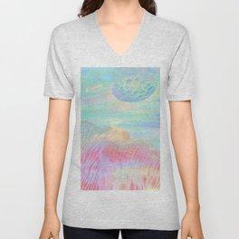HOPSCOTCH SHRINE, a spaceship flying through a pastel art piece Unisex V-Neck