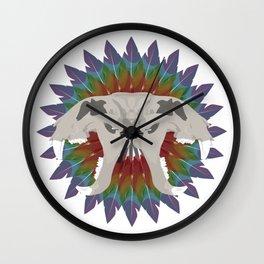 forked tiger skull Wall Clock