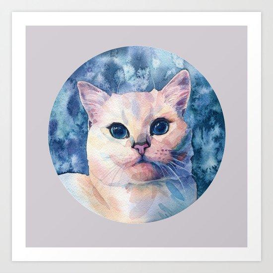"""White cat"" Art Print"