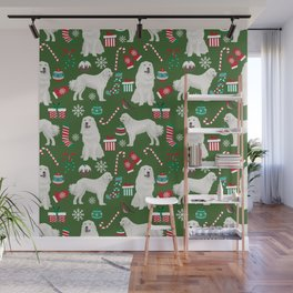 Great Pyrenees christmas festive dog gifts for the dog lover pet friendly pet portraits Wall Mural