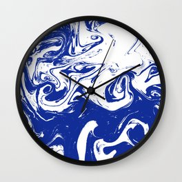 Marble blue 4 Suminagashi watercolor pattern art pisces water wave ocean minimal design Wall Clock
