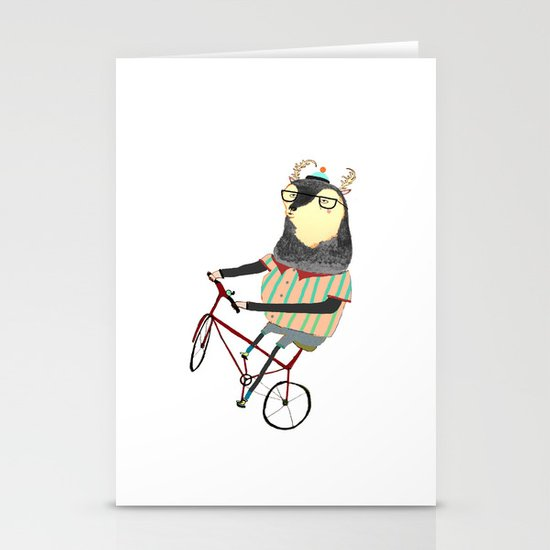 Deer on Bike.  Stationery Cards